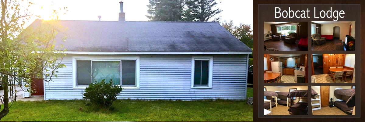 The Bobcat Lodge cabin rental interior and exterior photos